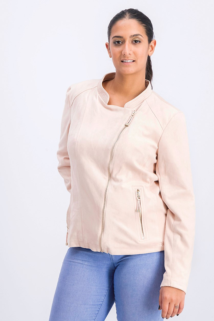 Women's Faux Suede Moto Jacket, Blush