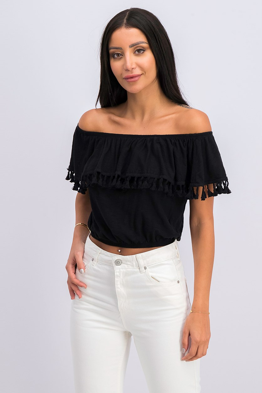 Women's Jersey Fringe Casual Top, Black