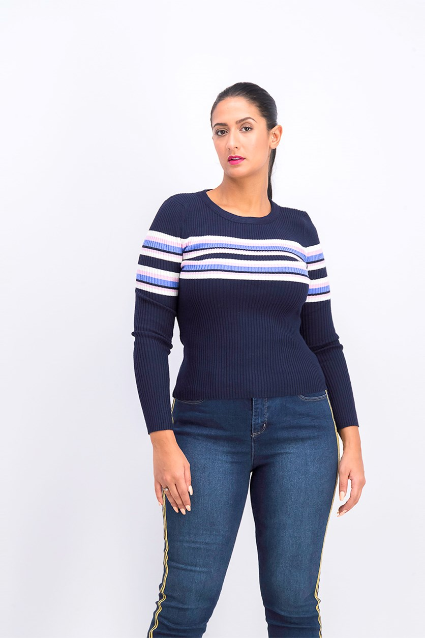 Women's Long Sleeve Striped Ribbed Zip Top, Blue Combo