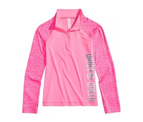 Girl's Fit Ombre Striped Performance Polo, Pink
