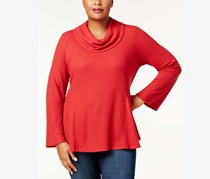. Women's Plus Textured Cowl Neck Blouse, Canyon Red