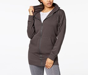 Material Girl Active Women's Zip-Front Lace-Up Tunic Hoodie, Grey