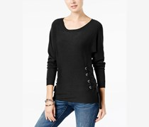 INC Women Scoop-Neck Lace-Up Sweater, Deep Black