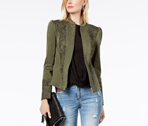 INC Women's Green Puffed Shoulder Lace Cont Jacket, Green