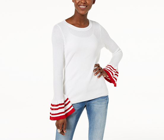 I.n.c. Women's Striped Bell-Sleeve Sweater, White