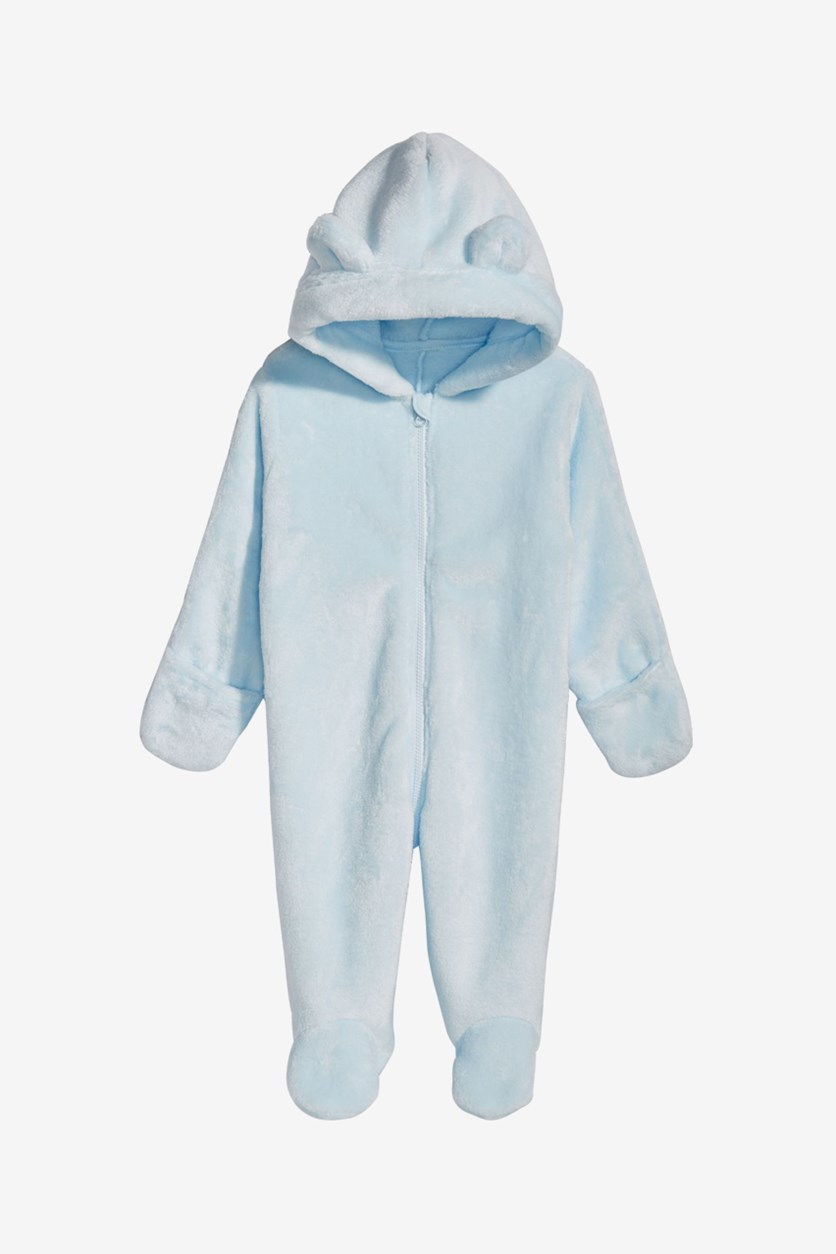 Unisex Hooded Faux-Fur Footed Snowsuit, Barely Blue