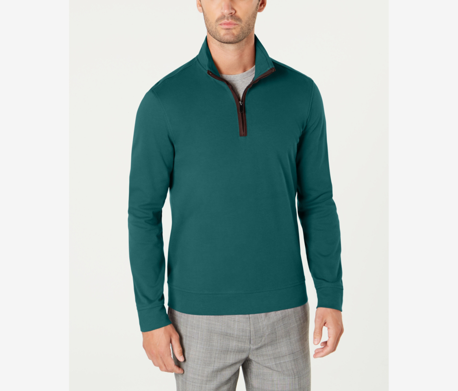 Men's Piped 1/4-Zip Sweater, Pacific