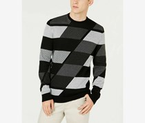 Alfani Men's Abstract Color blocked Sweater, Black/Gray