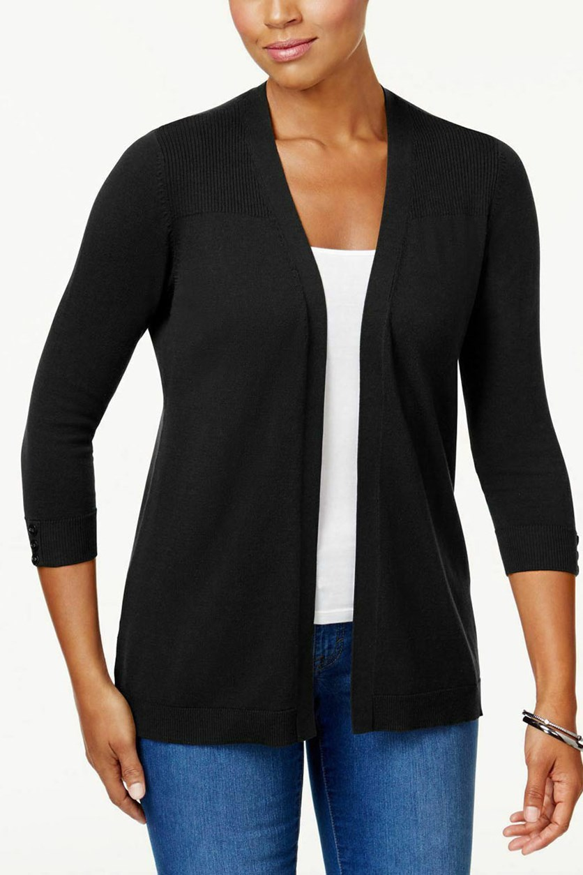Women's Ribbed-Yoke Open Cardigan, Black