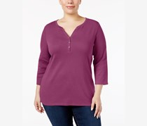 Karen Scott Plus Size Cotton Henley Top, Cranberry Rose
