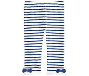 First Impressions Girl's Striped Bow Leggings, White/Navy