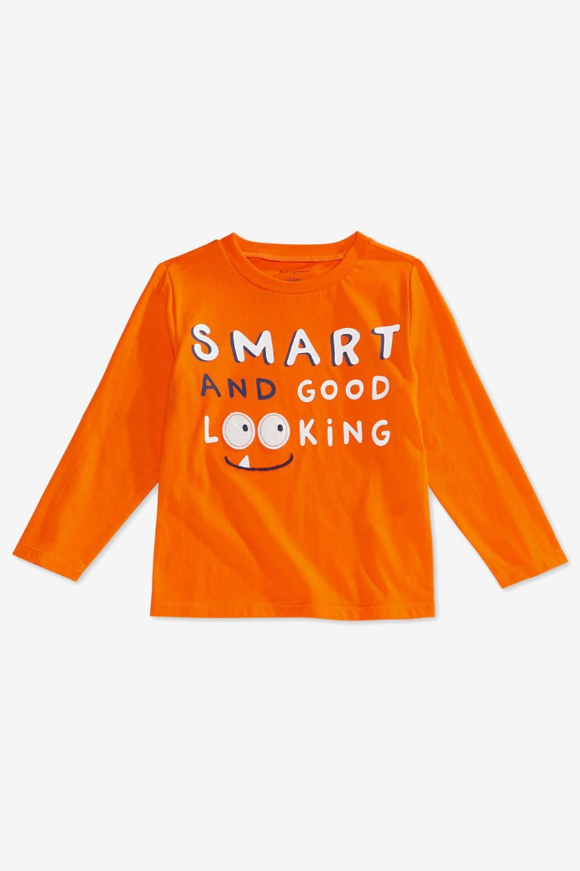 Baby Boys Smart-Print Cotton T-Shirt, Autumn Glow