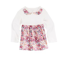 First Impressions Floral-Print Faux-Collar Cotton Tunic, Angel White