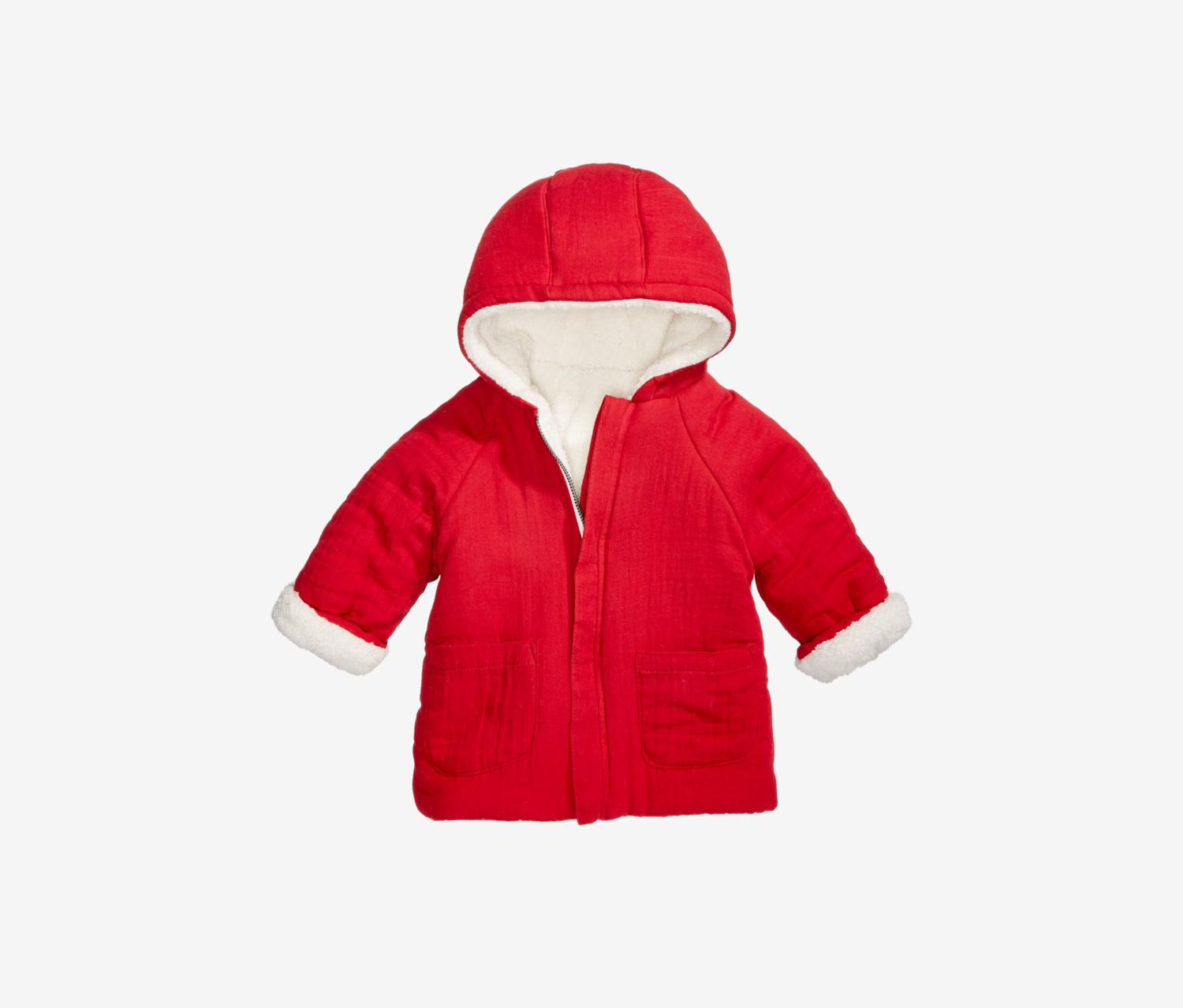 Toddlers Hooded Reversible Sherpa Jacket, Red/White
