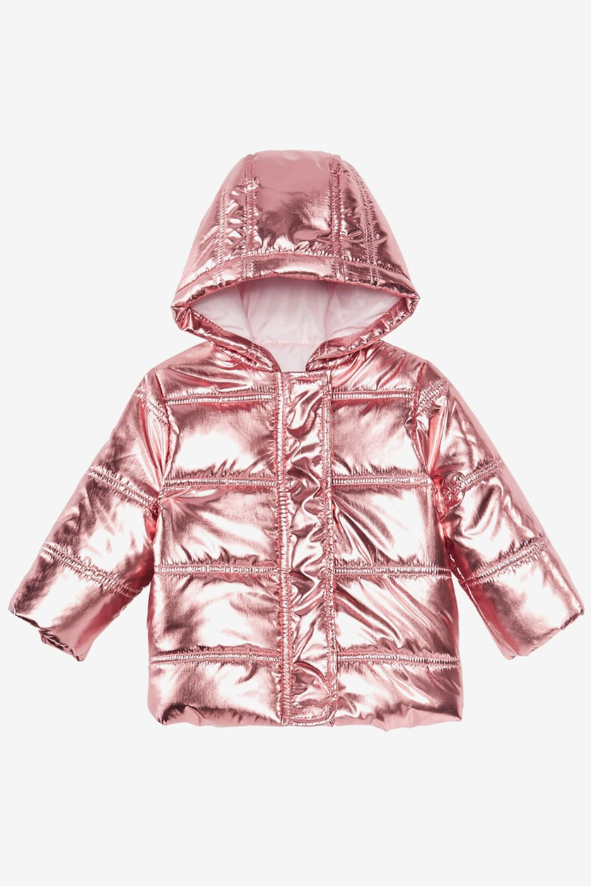 Baby Metallic Puffer Jacket, Rose Gold