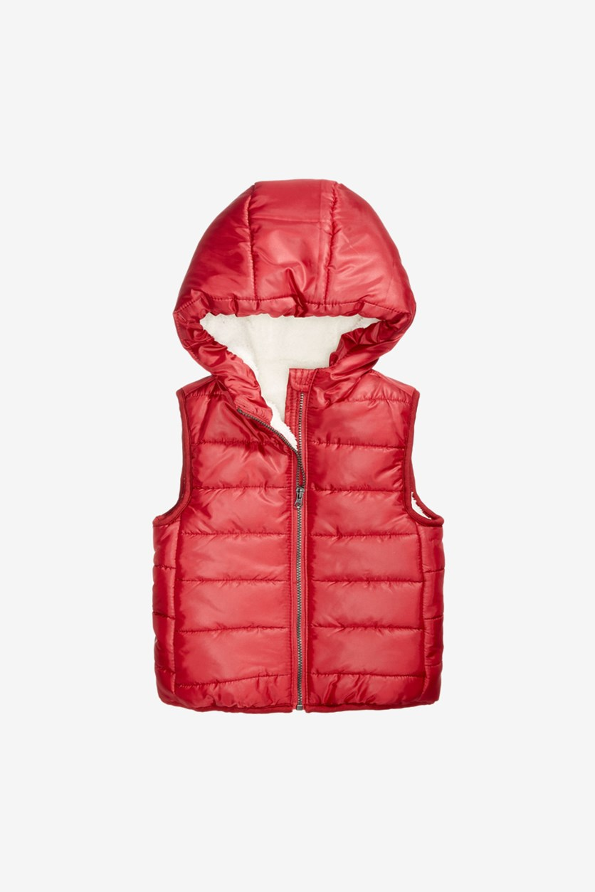 Baby Boys Reversible Hooded Puffer Vest, Dark Ruby