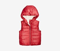 Baby Boy's Hooded Puffer Vest, Dark Ruby