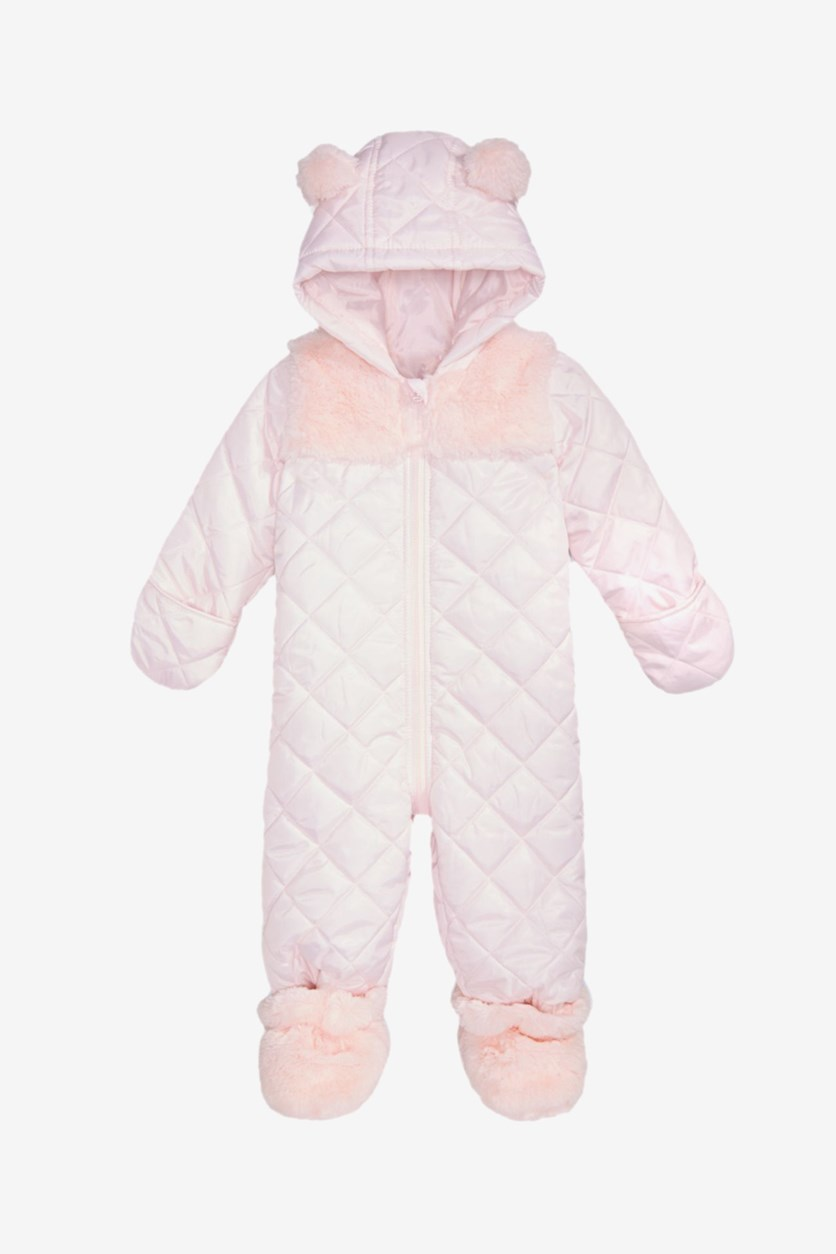Baby Girls Hooded Footed Quilted, Faintest Pink
