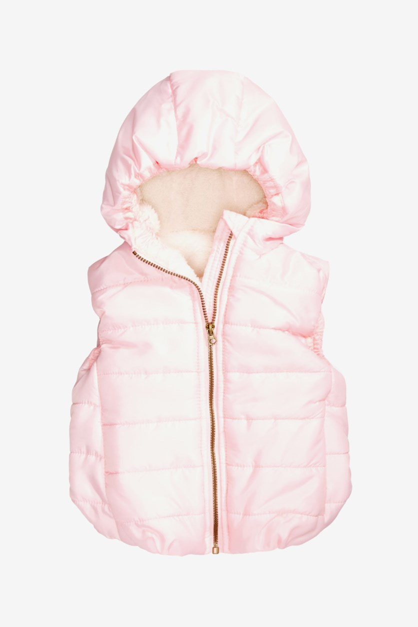 Baby Girls Hooded Puffer Vest, Peachy Pink
