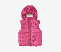 Toddler Girls Hooded Puffer Vest, Strawberry Fizz