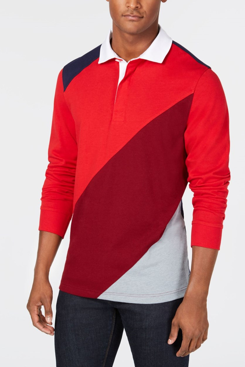 Men's Colorblocked Polo Shirt, Navy/Red