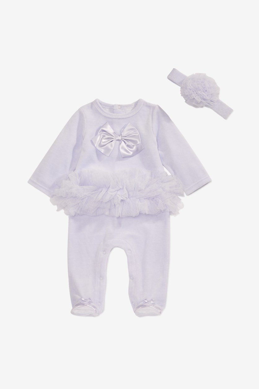 Baby Girls 2-Pc. Ballerina Footed Coverall & Headband Set, Lilac Kiss