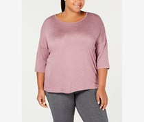 Women's Plus Burnout Three-Quarter Sleeves Pullover Top, Pink