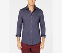 Tasso Elba Mens Herringbone Button-up Shirt, Navy Combo