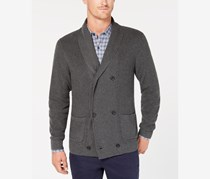 Men's Double Breasted Supima Cotton Cardigan, Charcoal Heather