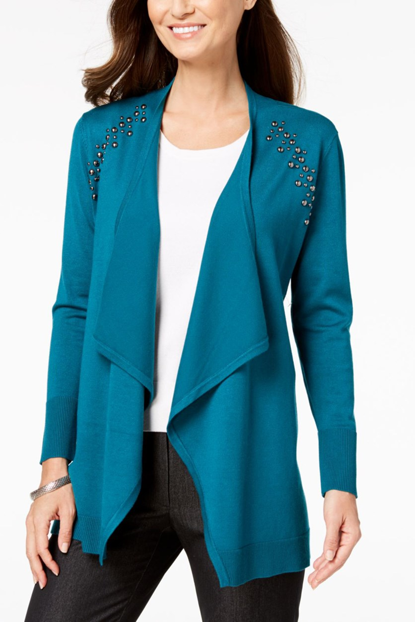 Women's Embellished Ribbed Trim Cardigan Sweater, Teal