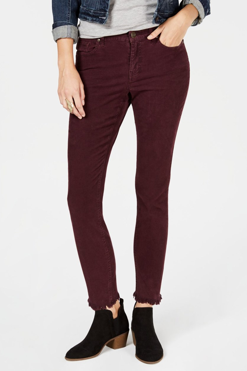 Women's Petite Frayed Corduroy Ultra-Skinny Pants, Berry Jam