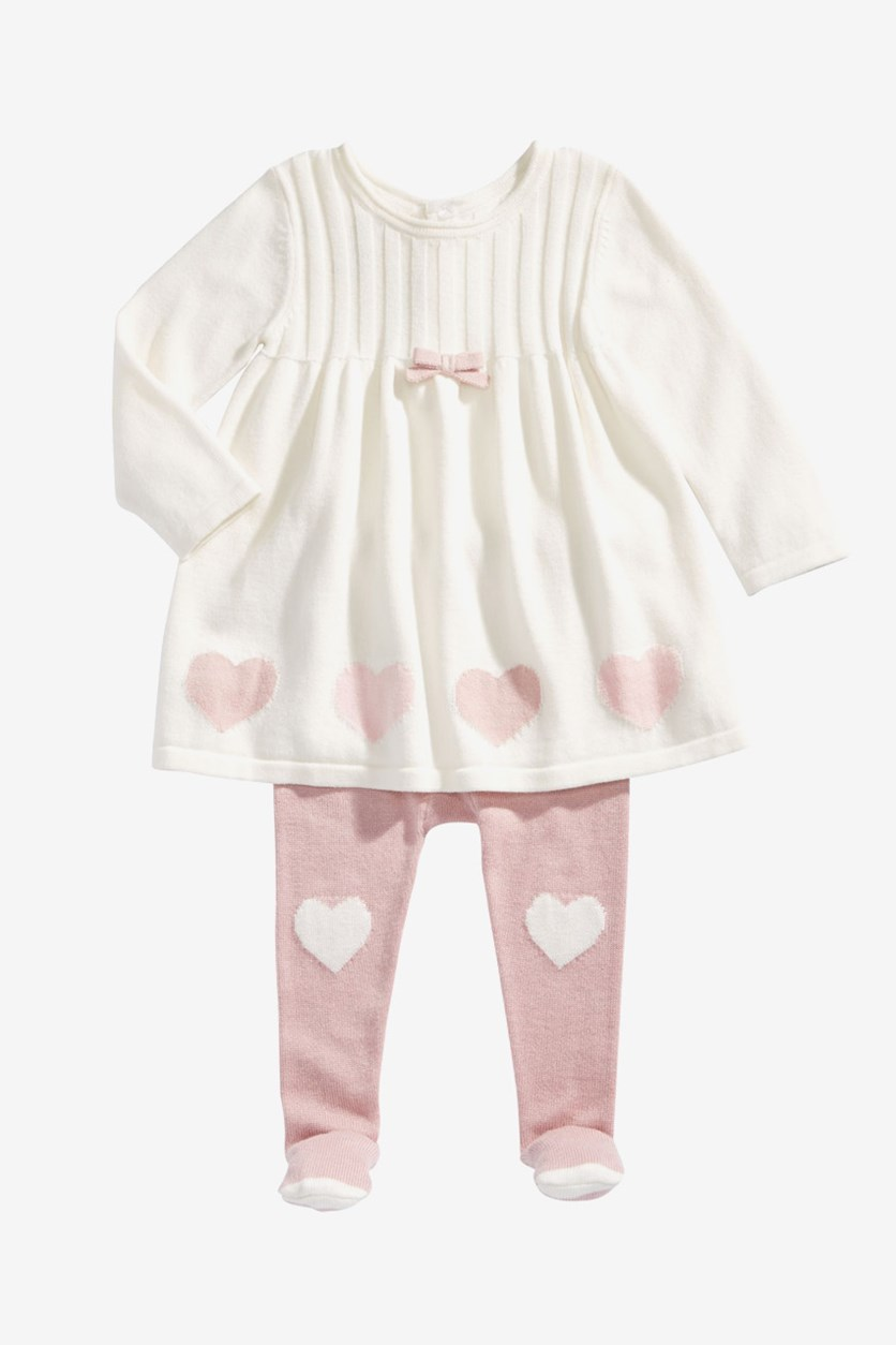 Baby Girls Hearts Sweater Dress & Footed Tights Set, Ivory/Pink