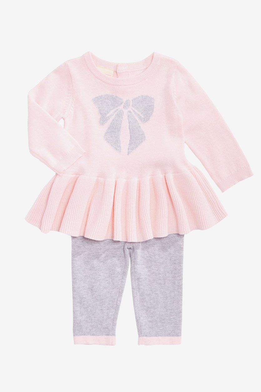 Toddler Girls Cotton Bow Sweater & Tights Set, Pink/Grey