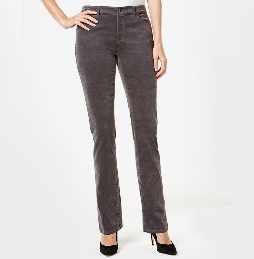 Petite Lexington Corduroy Pants, Shadow Grey
