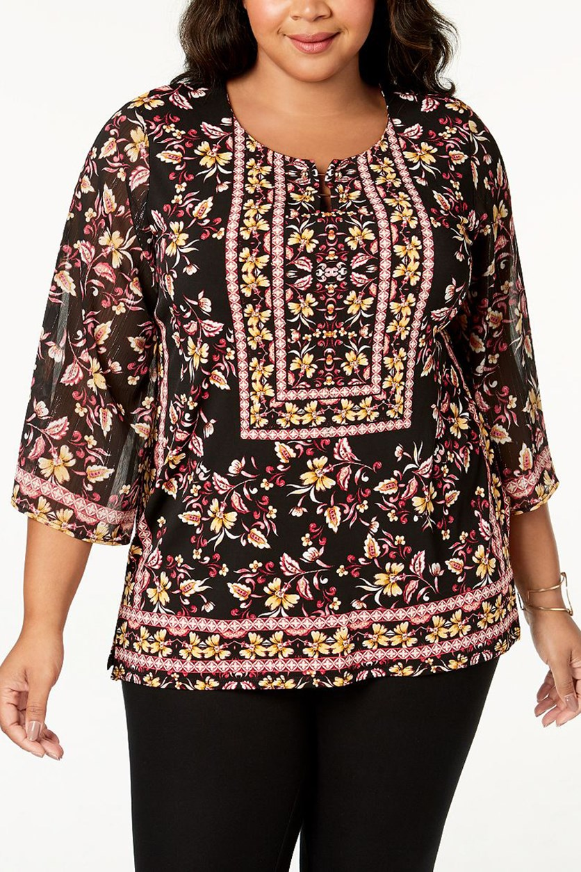 Plus Size Printed Chiffon-Sleeve Top, Antique Folklore