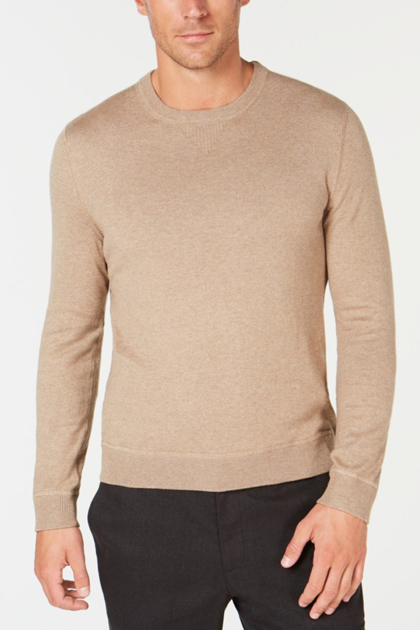 Men's Lux Crew-Neck Sweater, Taupe