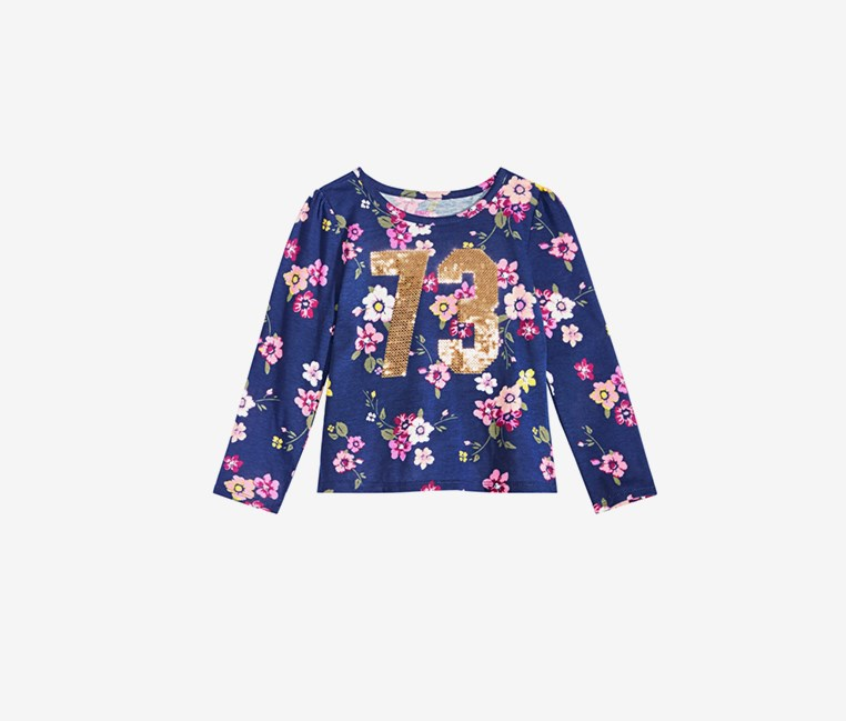 Girls Sequin Floral Print T-Shirt, Navy