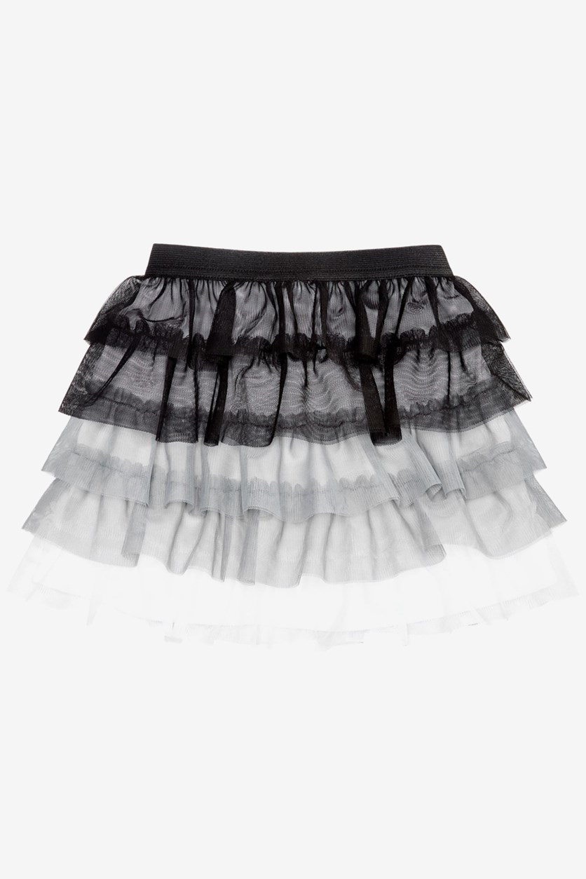 Little Girls Tiered Ruffle Skirt, Black