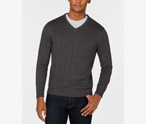 Club Room Mens Textured V-Neck Sweater, Charcoal Heather