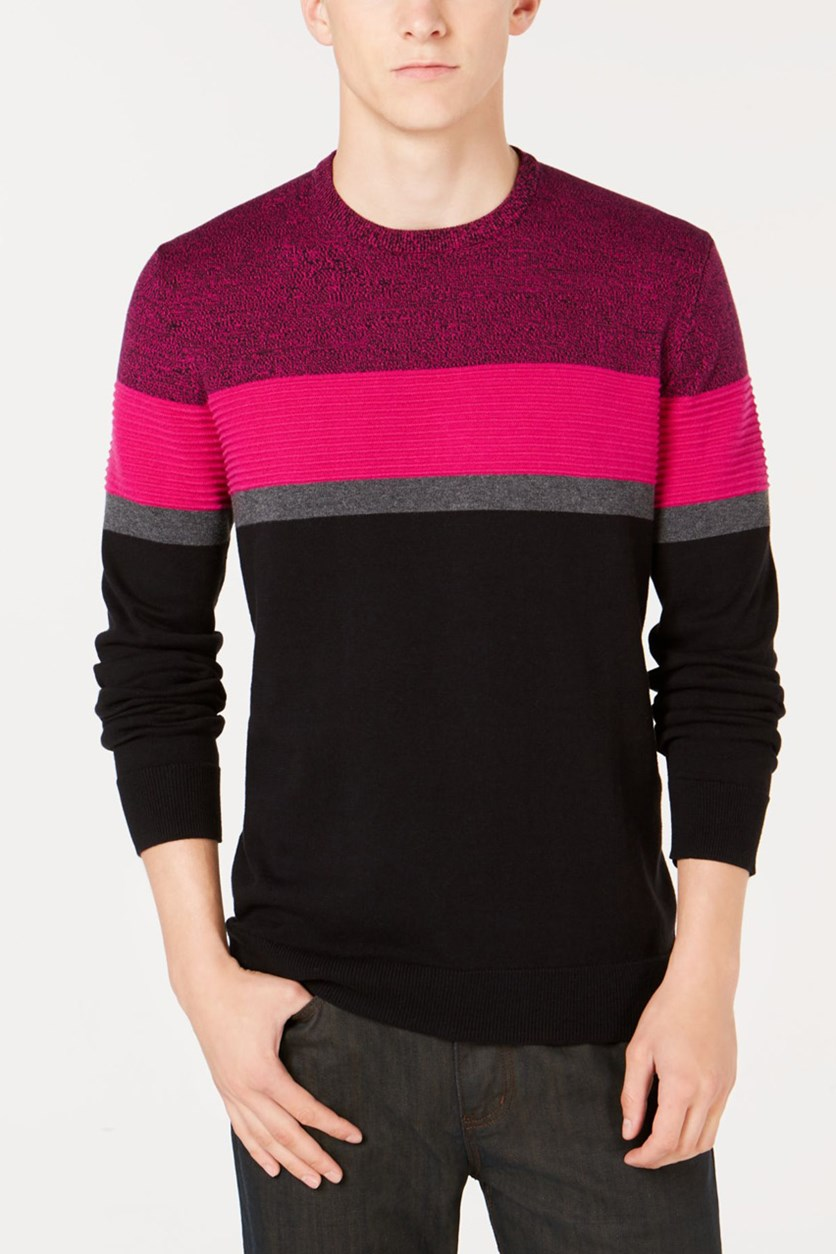 Mens Ottoman Striped Sweater, Ripe Raspberry