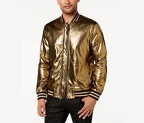INC Men's Foil Bomber Jacket, Gold