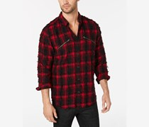 INC International Concepts Men's Plaid Shirt, Red Combo
