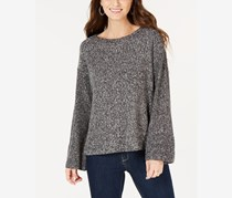 Style & Co. Women's Petites Knit Marled Pullover Sweater, Grey/White