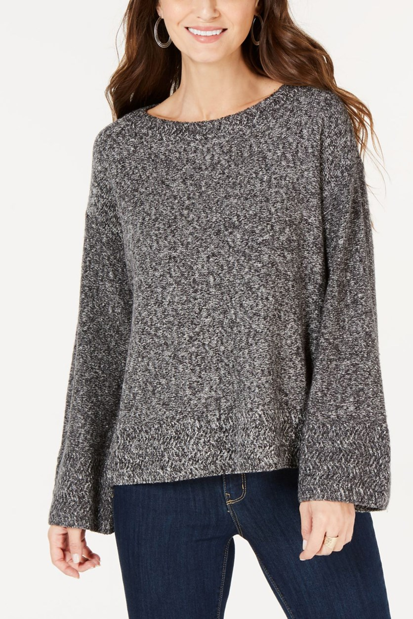 Women's Petites Knit Marled Pullover Sweater, Grey/White