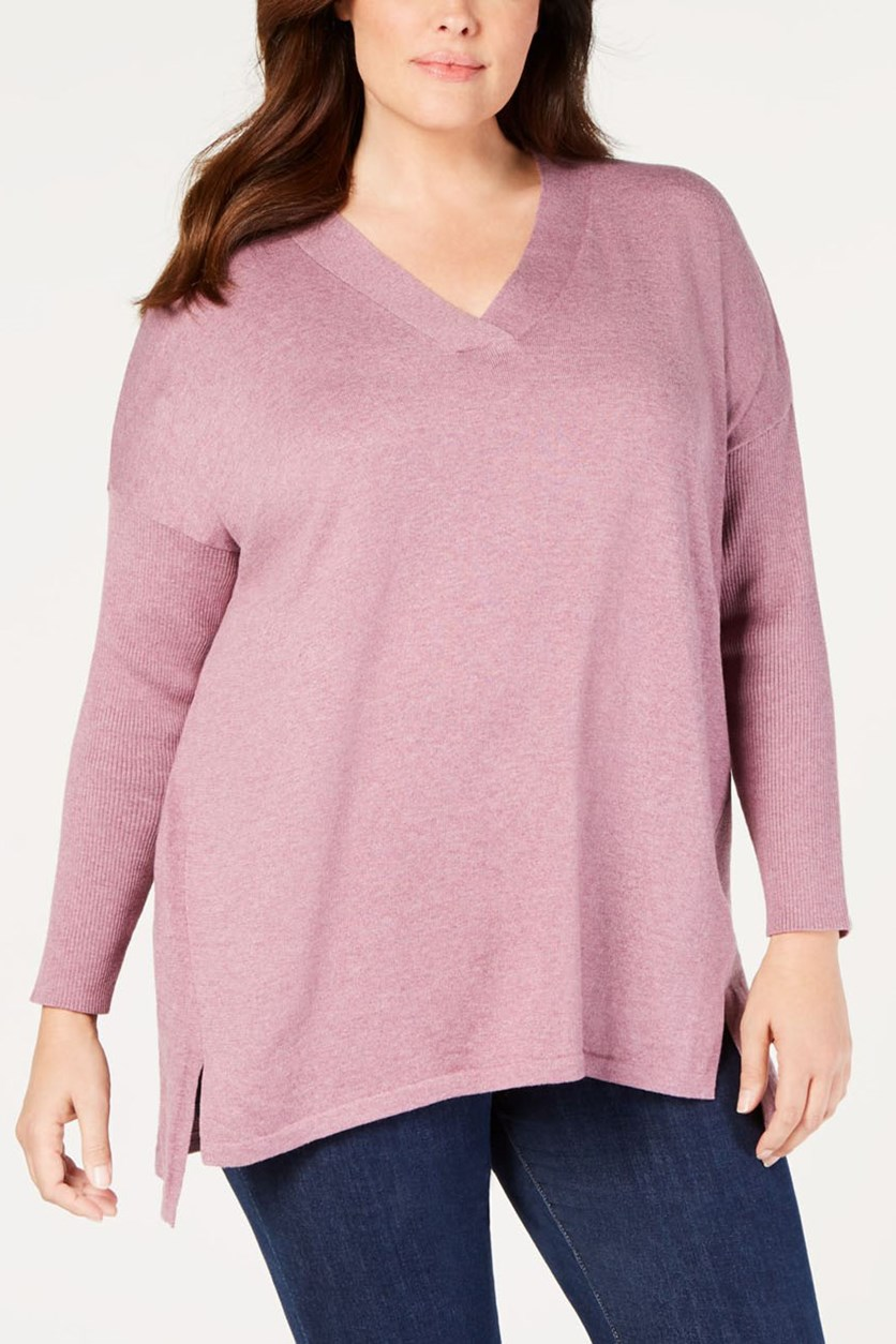 Plus Size High-Low Over-sized Tunic Sweater, Mauve