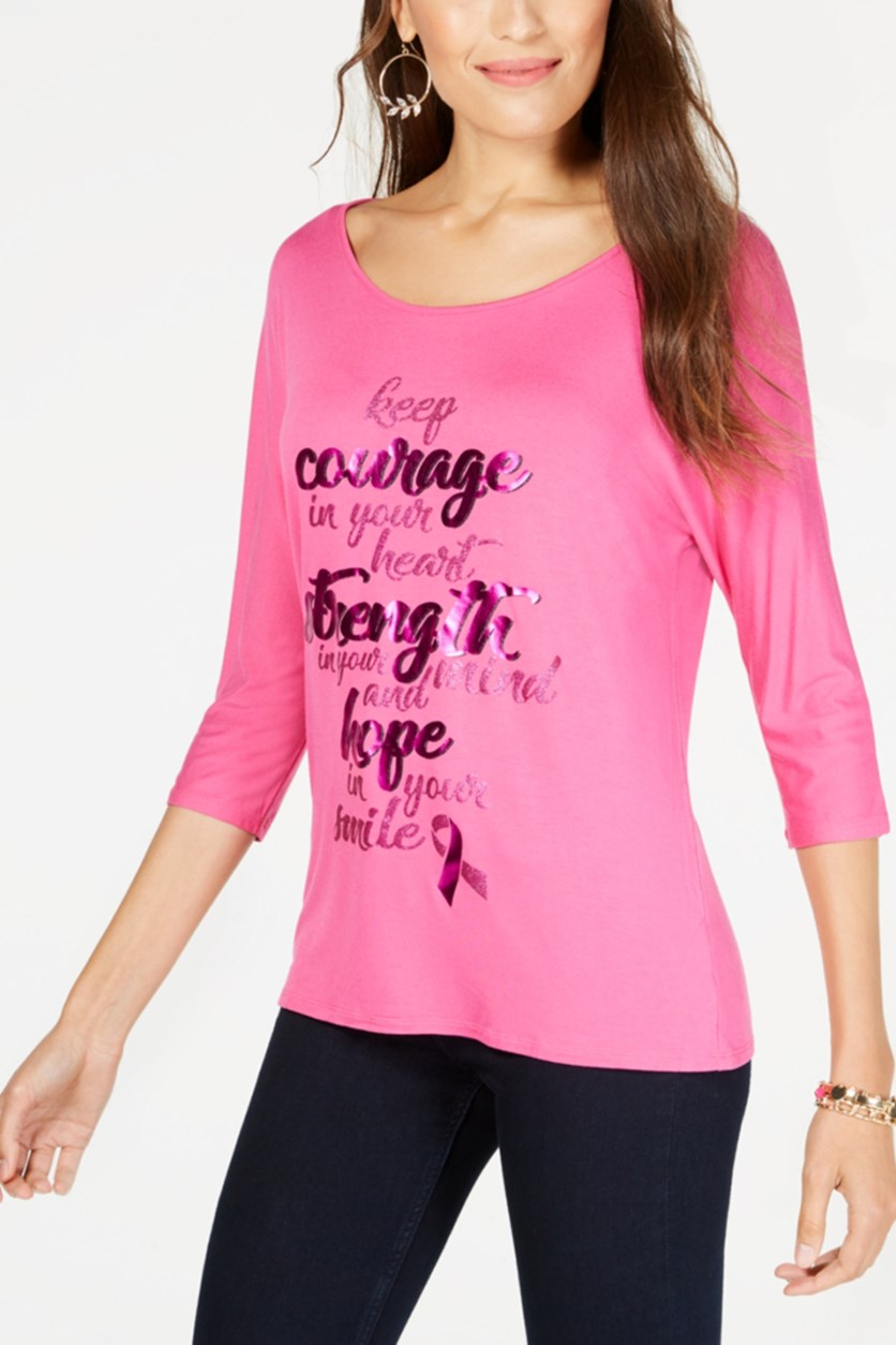 Foil-Print Breast Cancer Awareness Top, Divine Berry