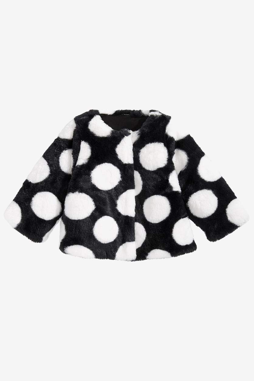 Baby Girls Dot-Print Faux-Fur Coat, Black