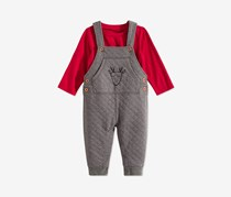 First Impressions Toddler Boys 2-Pc. Quilted Reindeer Overalls & T-Shirt Set, Red/Grey