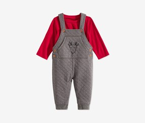Toddler Boys 2-Pc. Quilted Reindeer Overalls & T-Shirt Set, Red/Grey