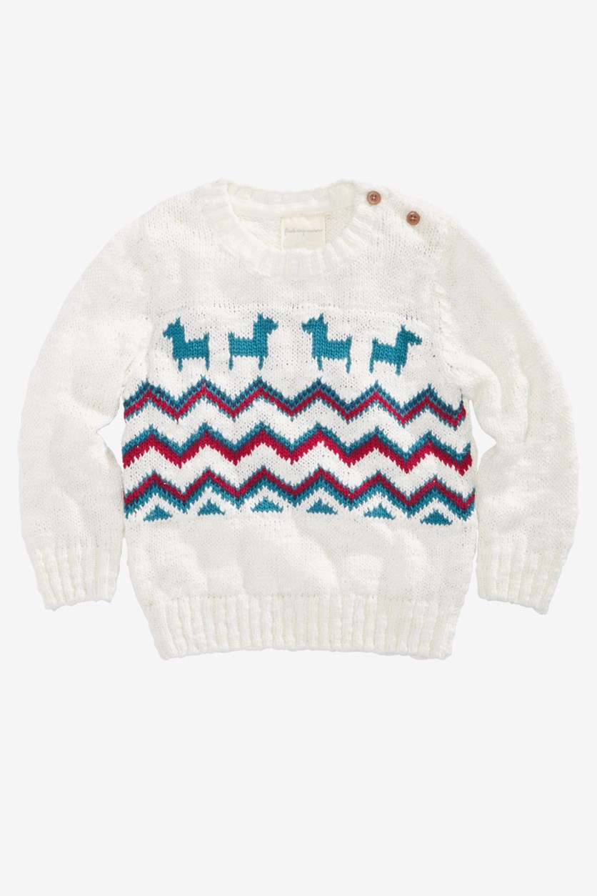 Boys Fairisle Llama-Print Sweater, Ivory Cloud
